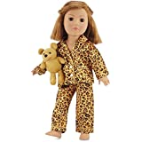 18 Inch Doll Clothes Satin Feel Cheetah Pajamas with Teddy Bear | Fits American Girl Dolls | Gift-boxed!
