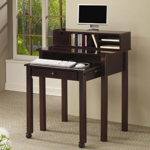 Buy Low Price Comfortable Home Office Nesting Computer Desk in Rich Cappuccino Finish (B0057POD3S)