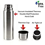 Best Stainless Steel Thermos Bottle - BPA Free - Hot Coffee or Cold Tea + Drink Cup Top - Double Wall Insulated - Slim Line Travel Size - Fits A Car Caddy - NEW Easy Clean Screw Top Lid - 17 OZ
