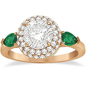 Pear Cut Emerald and Diamond Engagement Ring Setting 14k R. Gold 0.75ct