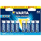 Varta - Pile Alcaline - AA x 8 - High Energy (LR6)