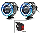 #6: AutoSun 2 Pieces U11 CREE-LED - Head Hunters LED Projector 3000LMW Headlight Fog Lamp (Dual Ring Red Blue) Fog Light Free 1 PC Switch