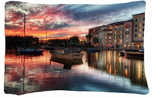 Microfiber Peach Queen Size Decorative Pillowcase -City House Water Reflection Images Boats Sky Hdr front-710087