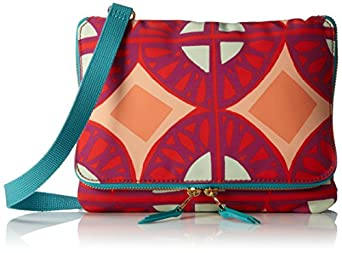 Fossil Keyper Flap Mini Zipper Cross-Body Handbag,Raspberry,One Size