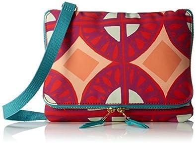Fossil Keyper Flap Mini Zipper Cross-Body Handbag,Raspberry,One Size