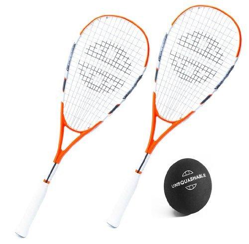 Unsquashable 2x CalBurn Squashschläger inkl. Squashball! 200g & DoubleString Techology ! Squashset