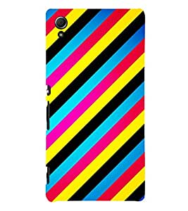 MULTICOLOURED SLANTING LINES PATTERN 3D Hard Polycarbonate Designer Back Case Cover for Sony Xperia Z4 :: Sony Xperia Z4 E6553