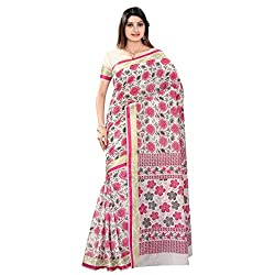 Chic Pink Colored Printed Blended Cotton Saree