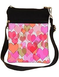 Snoogg Plenty Of Hearts Cross Body Tote Bag / Shoulder Sling Carry Bag