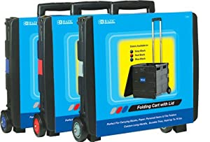BAZIC Folding Cart on Wheels with Lid Cover, 16 x 18 x 15 Inch