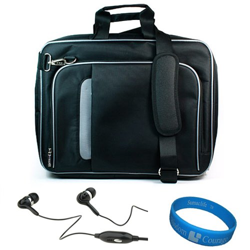 VG Black Messenger Bag with Handle and Removable Shoulder Strap for Asus EEE Pad Transformer Prime TF700T / TF201 Android 10.1 inch Tablet + VG Black Hifi Noise Reducing Hansdfree Earbuds with Windscreen MIC + SumacLife TM Wisdom Courage Wristband