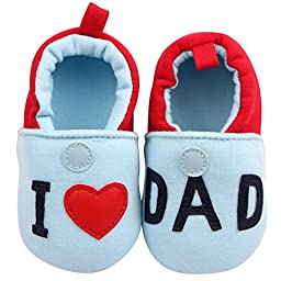 Aivtalk I Love Dad Baby Toddler Shoes First Walkers Soft Sole Crib Shoes Knitted Shoes Size 13 - Blue