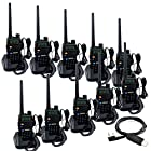 Retevis RT-5R 5W 128CH UHF/VHF 136-174/400-520 MHz Dual Band Dual Standby DTMF/CTCSS/DCS FM Transceiver with Earpiece Ham Amateur Radio Walkie Talkie Handheld 2 Way Radio Long Range Black 10 Pack and Programming Cable