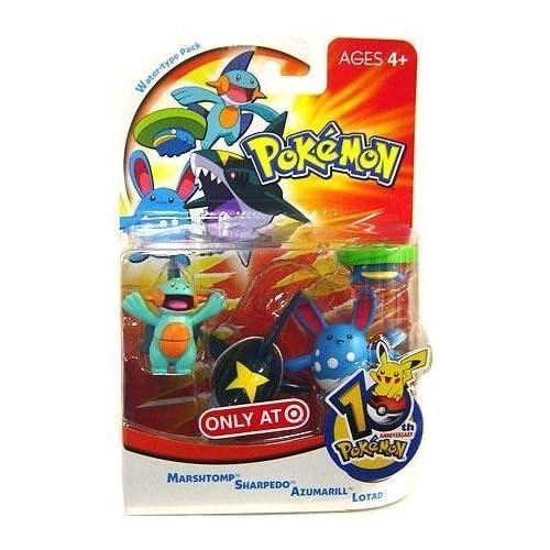 Pokemon Mini Action Figure Set Water Type Pack with Marshtomp, Sharpedo, Azumarill & Lotad by Hasbro (English Manual)