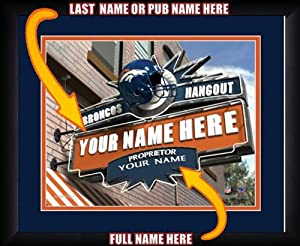 NFL Personalized Sports Pub Custom Framed Hangout Print Denver Broncos Licensed by You