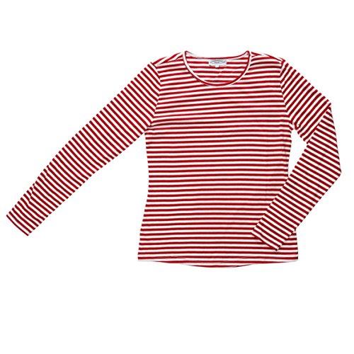 "Langarm-T-Shirt für Damen ""Michaela"", 160 gsm, rot/weiß, schmal gestreift, Gr. M"