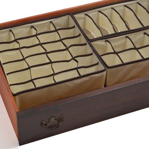 GGI International Lot de 4 séparateurs tiroir de rangement pliable, boîtes, penderie mural, Organiseur sous lit, pour vêtements, chaussures, soutien-gorge, sous-vêtements, cravates et chaussettes