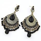 Cinderella Collection by Shining Diva Enticing Silver & Black Crystal Hanging Earrings for Women 6993er