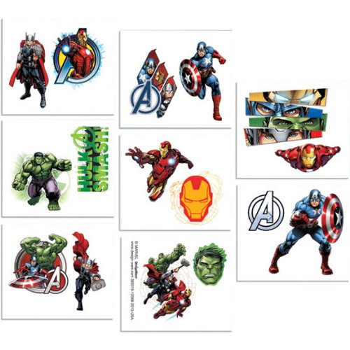 16-Piece Avengers Tattoos, Multicolored (Iron Man Invitations compare prices)