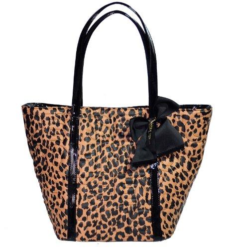 Betsey Johnson Logo Large Purse Tote Shoulder Hand Bag Leo Leopard Tan Black