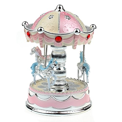 Tonsee® Merry-Go-Round Music Box Christmas Birthday Gift Carousel Toddler Toys (Pink)