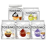 Tassimo Sweet Dreams Set: Milka Chocolate, Suchard Hot Chocolate, Cappuccino, Carte Noire Crème Brûlée, Chai Latte Lemongrass, 5 x 16 T-Discs