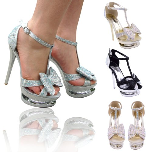 LADIES WOMENS DIAMANTE BOW HIGH HEELS EVENING PROM PARTY GLAMOROUS FASHION PLATFORM STILETTOS SHOES SANDALS SIZE 3 4 5 6 7 8