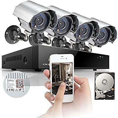 Funlux® 8CH 960H DVR Home Security System, P2P, QR-Code Connection, 4 600TVL Day Night CCTV Cameras Surveillance System 500GB Hard Drive