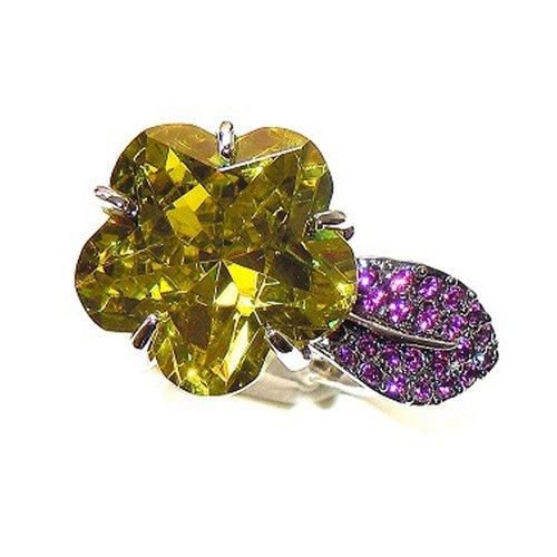 Rhodium-Plated FLOWER Ring Claw-Set Peridot Centre Stone Amethyst Swarovski Crystals. FREE Box.