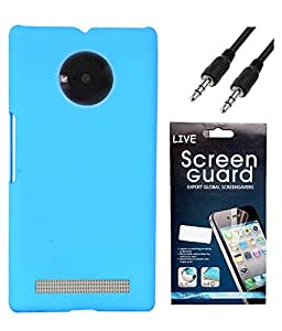 Hermit Back Cover Plus Auxliary Cable Plus Screen Guard For Micromax YU Yuphoria -Sky Blue