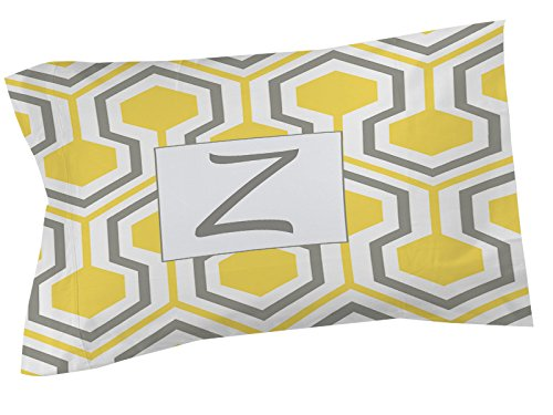 Thumbprintz Pillow Sham, Standard, Monogrammed Letter Z, Yellow Honeycomb front-482927