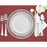 Lace Collection, 40 Pack Premium China Like 10.25 Inch White/Silver Like Real Plastic Plates (Includes 4 Packs of 10 Lace Plates, Total 40 Plates), Wedding and Party Dinnerware