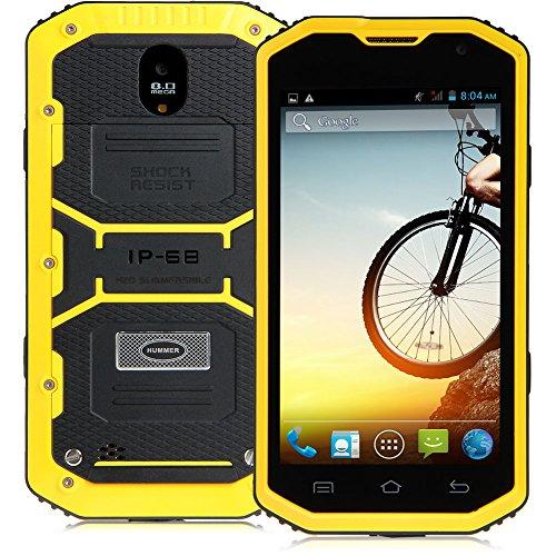 "Padgene 5"" Android 4.2 Wasserdicht 3G Robuste Dual Core Dual SIM Smartphone Touchscreen Handy Ohne Vertrag Mobiltelefon (Gelb)"
