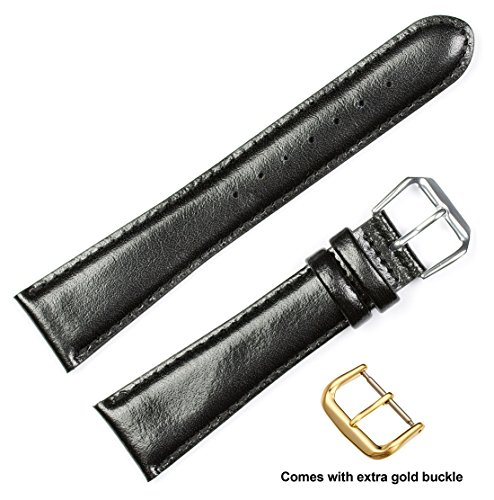 deBeer brand Smooth Leather Watch Band (Silver & Gold Buckle) - Black 12mm (Long Length) (12mm Extra Long Watch Strap compare prices)