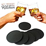 Drink Coaster Silicone (Set of 6) - Bar Size 4 Inches with Good Grip & Deep Spill Tray - Coasters for Beverage like Beer Cans, Wine Glasses, Coffee Mugs | Black