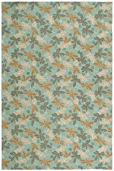 "2'6"" x 4'3"" Rectangular Oscar Isberian Rugs Area Rug Sky Blue Color Hand Hooked China ""Martha Stewart Collection"""