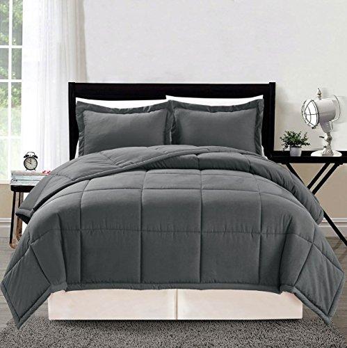 3 Piece Luxury GREY Goose Down Alternative Comforter Set