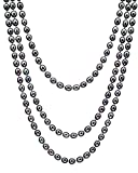HinsonGayle AAA Handpicked 8-8.5mm Multicolor Black Oval Freshwater Cultured Pearl Rope Necklace 65""