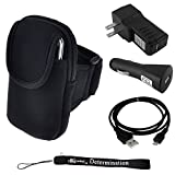 Exercise Armband For Kyocera Brio S3015 Event C5133 Hydro C5170 EDGE XTRM Rise C5155 Torque E6710 Phone + Car USB Charger + Home USB Charger + USB Sync Cable + Determination Hand Strap