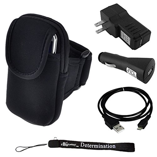 Exercise Armband For Kyocera Brio S3015, Event C5133, Hydro C5170, Edge, Xtrm, Rise C5155, Torque E6710 Phone + Car Usb Charger + Home Usb Charger + Usb Sync Cable + Determination Hand Strap
