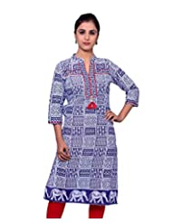 Adesa Women's Cotton Self Print Regular Fit Kurti - B00VHSK04U