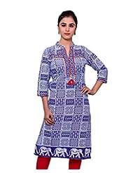 Adesa Women's Cotton Self Print Regular Fit Kurti - B00VHSJU32