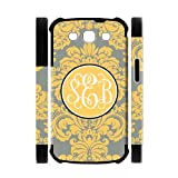 Yellow And Gray Damask Personalised Rudder Samsung Galaxy S3 I9300 PVC Two-In-One White/Black Case/Cover New Fashion, Best Gift