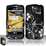 51OUpfgfeYL. SL160  Black Silver Flower Vine Butterfly Rubberized Snap on Hard Shell Cover Protector Faceplate Cell Phone Case for Sprint LG Optimus S LS670, Virgin Mobile Optimus V, USCellular Optimus U + LCD Screen Guard Film