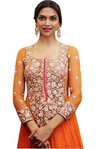 Varibha Branded Deepika Georgette Salwar Suit Dress Material, Orange, 100% Genuine