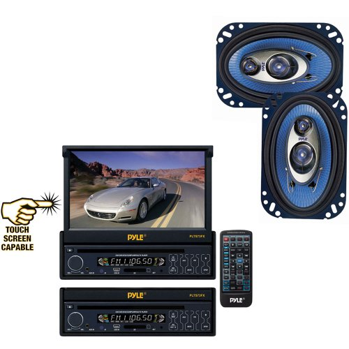 Pyle Vehicle Audio System For Car, Van, Truck, Mobile Etc. - Plts73Fx 7'' Single Din In-Dash Motorized Touch Screen Tft/Lcd Monitor W/ Dvd/Cd/Mp3/Mp4/Usb/Sd/Am-Fm Player - Pl463Bl 4'' X 6'' 240 Watt Three-Way Speakers (Pair)