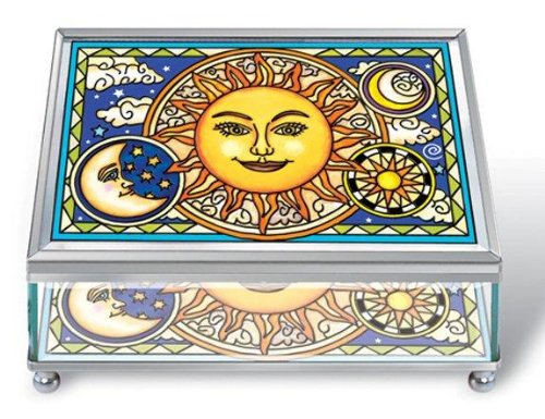 Amia Rectangular Beveled Glass Jewelry Box with Hand-Painted Celestial Design, 6 by 3 by 4-Inch, Large