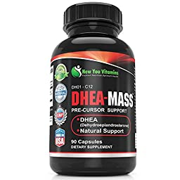 DHEA 100mg Supplement For Men And DHEA-MASS Supplement For Women DHEA 100mg 90 Capsules 1 Bottle