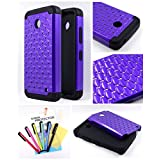Thousand Eight(TM) For Nokia lumia 635, Nokia lumia 630 Diamond Studded Silicone Rubber Skin Hard Case + [Screen Protector Shield(Ultra Clear)+Thousand Eight(TM)Touch Screen Stylus] (Diamond purple)