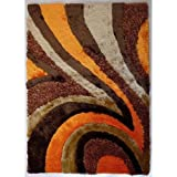 Beautiful & Luxurious Superior Quality Area Shag Rug, Hand Tufted , Contemporary Design, Beige, Coco Brown, Coral Orange,Hand Carved, Soft and Fuzzy Rug, ~ 5 x 7 ~ ft ON SALE!